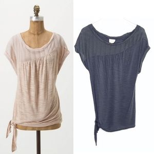 [Anthropologie] slate gray side tie top #Y18